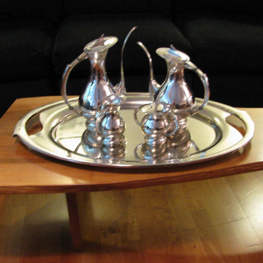 Mid Century Modern 950 Sterling Silver Tea Set Coffee Set plus Tray