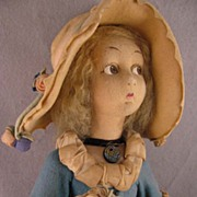1923 Lenci 24 inch Lady in Turquoise Felt Dress and Large Bonnet