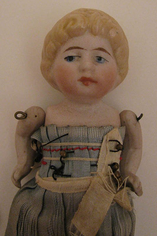 3.5 inch German Blond All Bisque Jointed All Original Doll