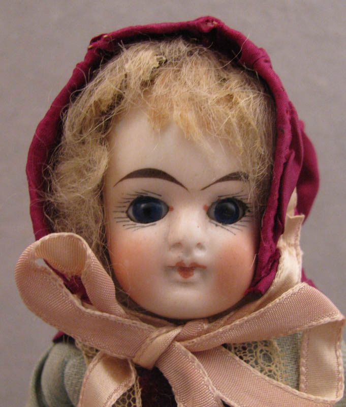 1880s German Goebel 9 inch Bisque Doll with Factory Original Clothing