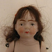 Naked 3.125 inch German All Bisque Brown Haired Girl Doll