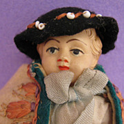 "4.4"" Hungarian Celluloid Doll w/ Amazing Original Felt Costume"