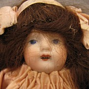 5 inch Wigged German Open Mouth All Bisque All Original Pink Dress