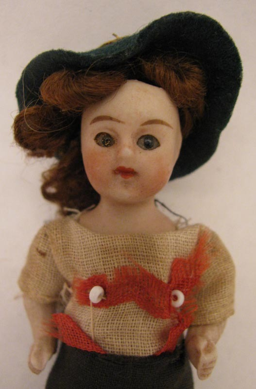 3.5 inch German All Bisque Boy Doll w/ Glass Eyes and Original Costume