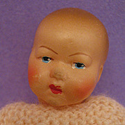 "4.5"" French Petit Colin Celluloid Baby Doll w/ Original Clothing"