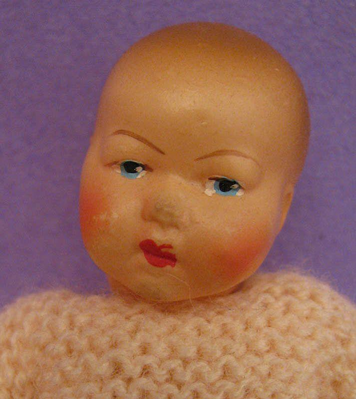 4.5 inch French Petit Colin Celluloid Baby Doll with Original Clothing