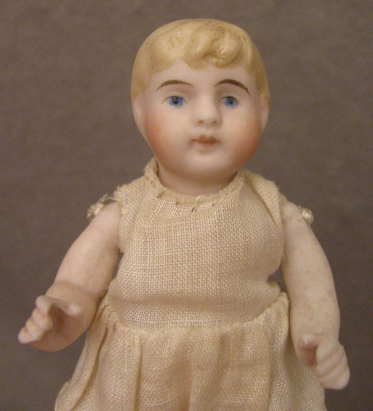 4 inch Blond Bent Limb All Bisque Kling Doll c. 1890