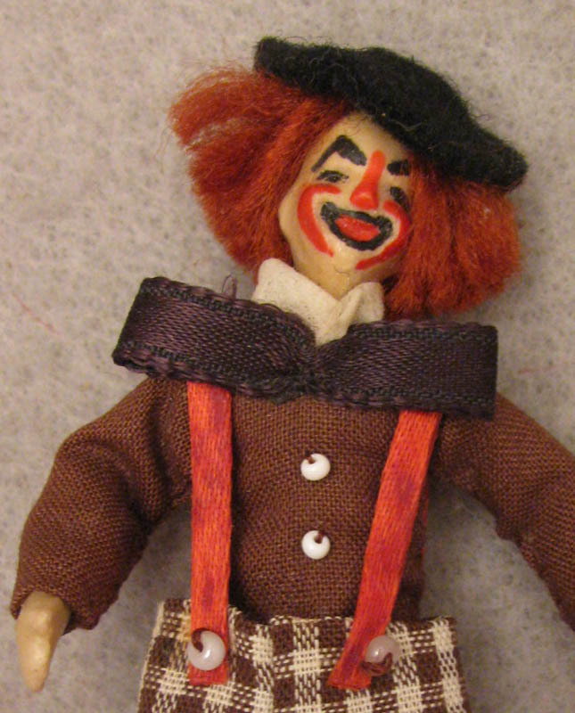 NIADA Irma Parks1960s Miniature 3 inch Wax Clown Doll