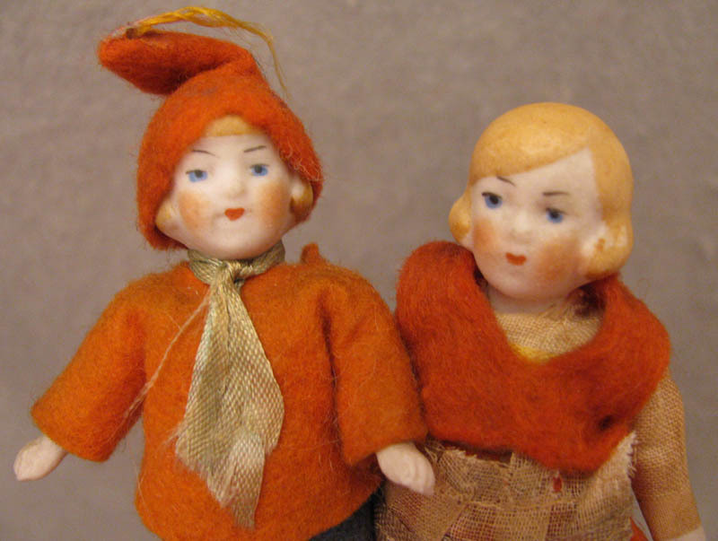 All Original c.1920s-40s Pair of 3.25 inch All Bisque Doll House Dolls