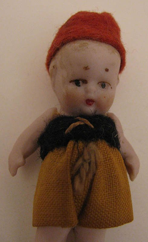 Chubby German Miniature 2.125 inch Pink Tint All Bisque Doll