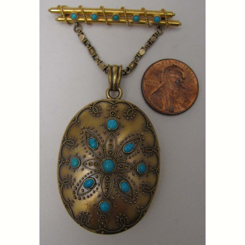 Victorian 14K Gold Turquoise Photograph Locket and Brooch