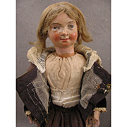 1700s Carved Wood 17.5 inch Religious Creche Figure Doll