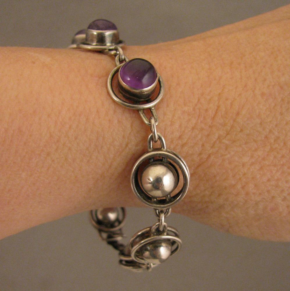 Arts & Crafts Sterling Silver Amethyst Bracelet