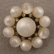1940s Vintage Moonglow Lucite Fur Clip Brooch.