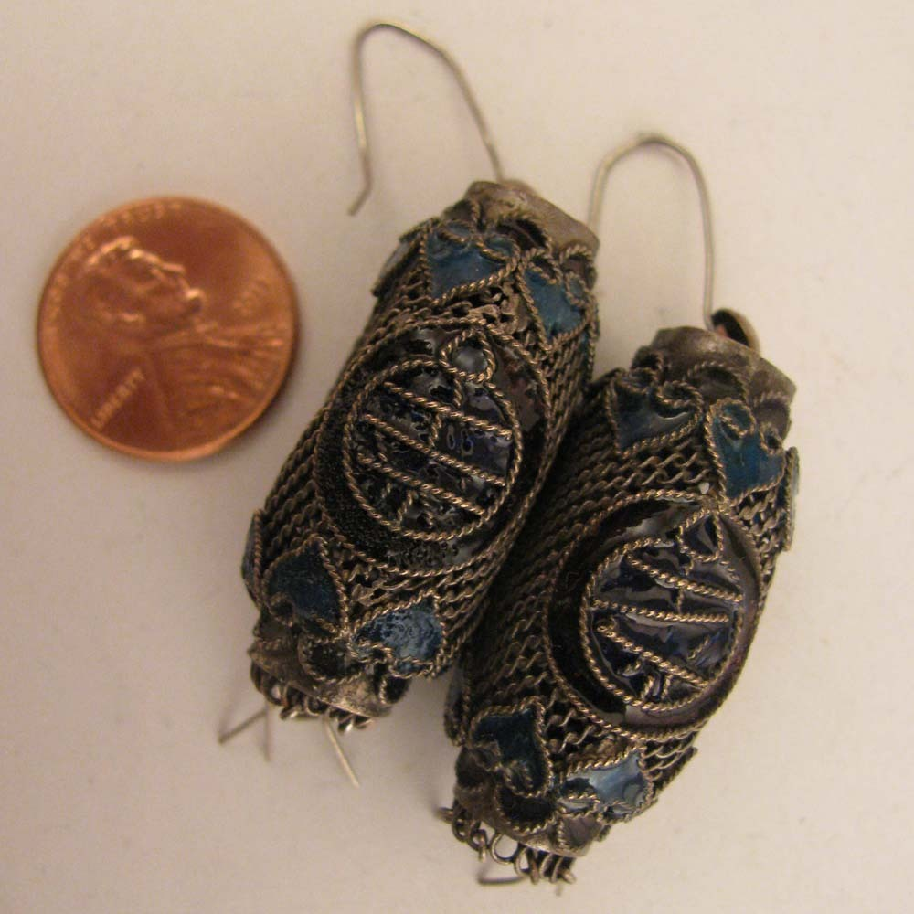 Antique Chinese Export Enameled Filigree Lantern Earrings