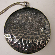 Vintage Sterling Silver Hand Made Abstract Disc Pendant Necklace