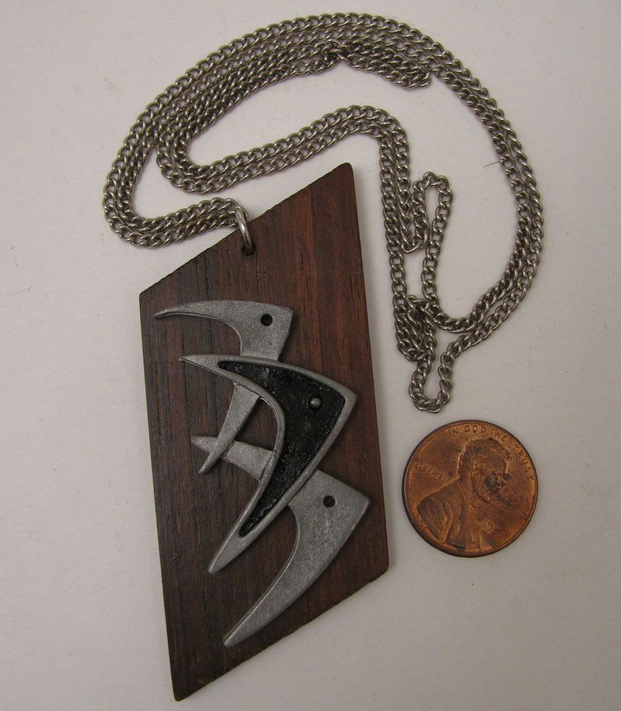 Mid Century Modern Boomerang Fish on Teak Wood Pendant Necklace
