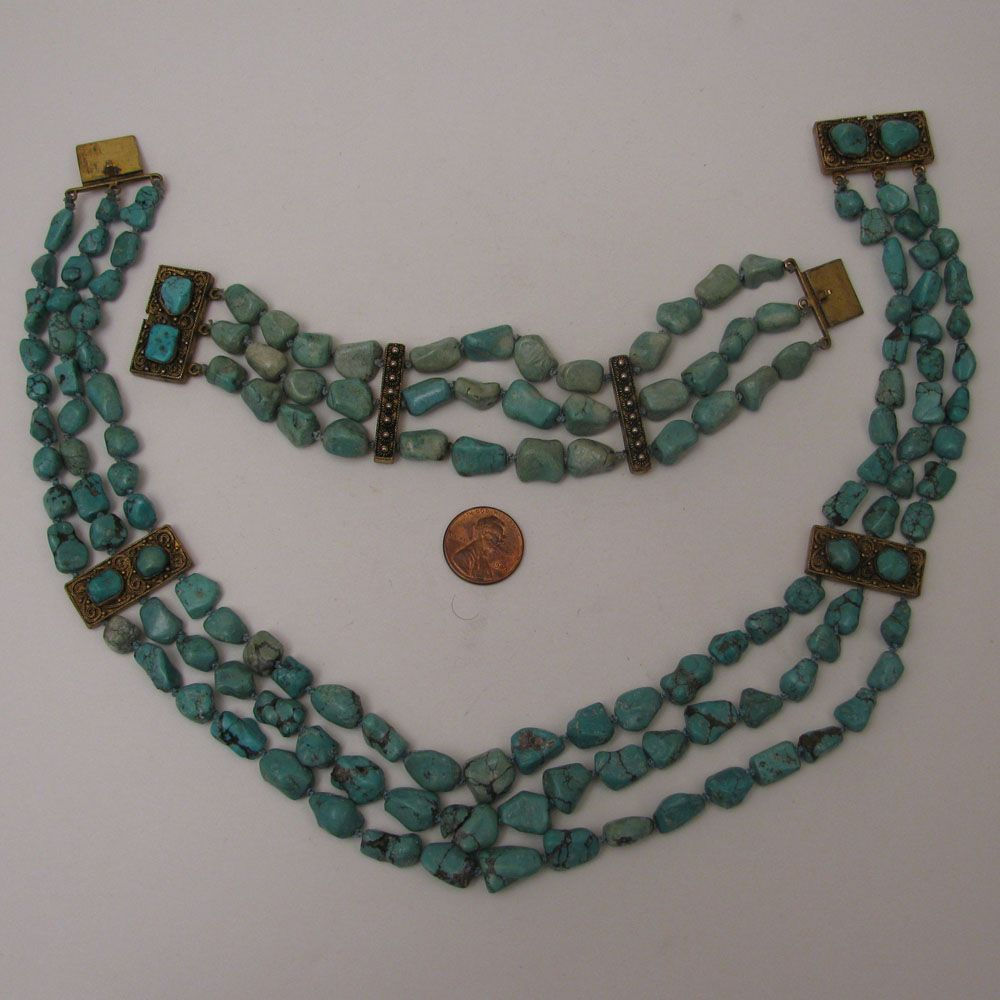 circa 1900 Chinese Export 3 Strand Turquoise Nugget Necklace & Bracelet Set