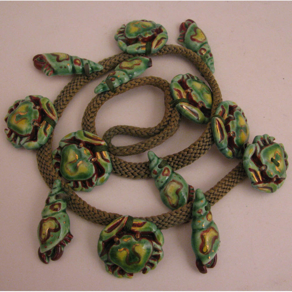 Vintage Ceramic Pottery Green Crabs Necklace