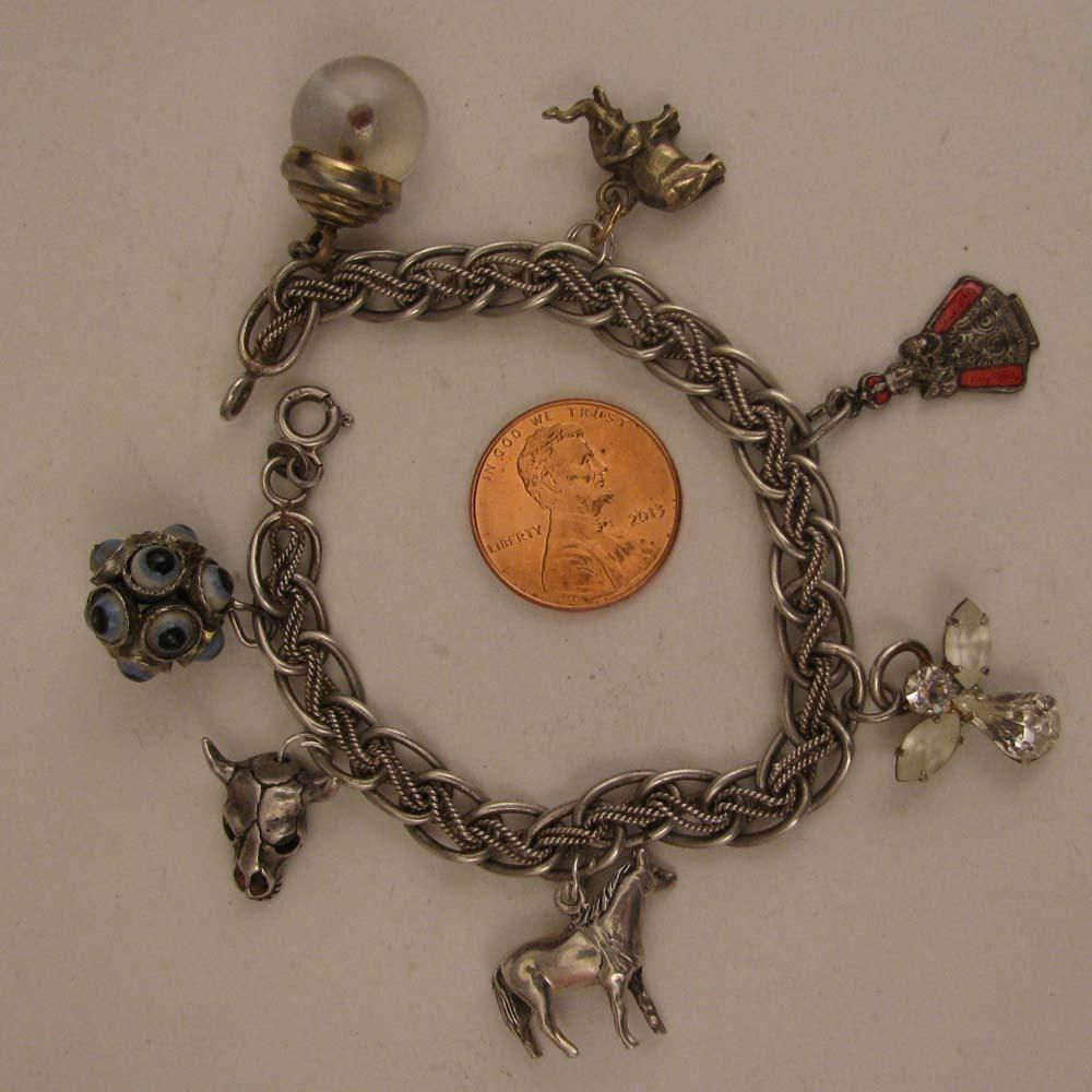 Vintage Sterling Silver Charm Bracelet + 7 Charms