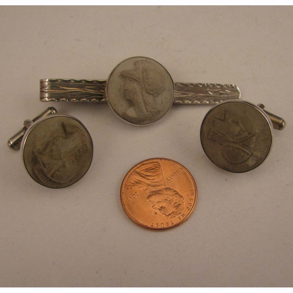 Early 1900s Mans Italian 800 Silver Lava Cameo Cufflinks and Tie Clip Set