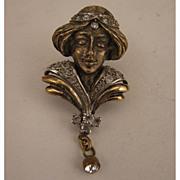 Art Nouveau Lady Sterling Vermeil Rhinestone Scarf Clip