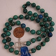 21 inch Chrysocolla Beaded Necklace with Dichroic Glass Pendant and Sterling Silver Clasp