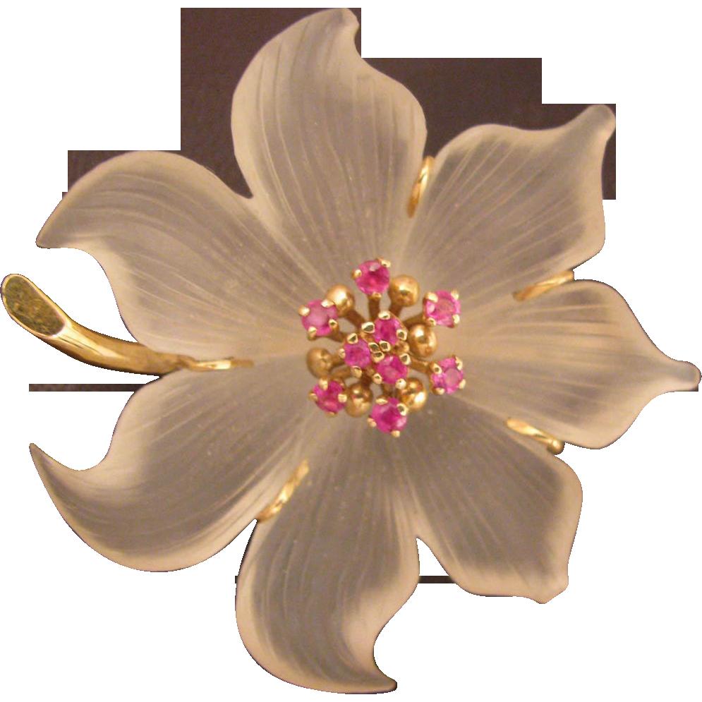 Vintage Baum 14K Frosted Crystal Flower Brooch w/ Rubies