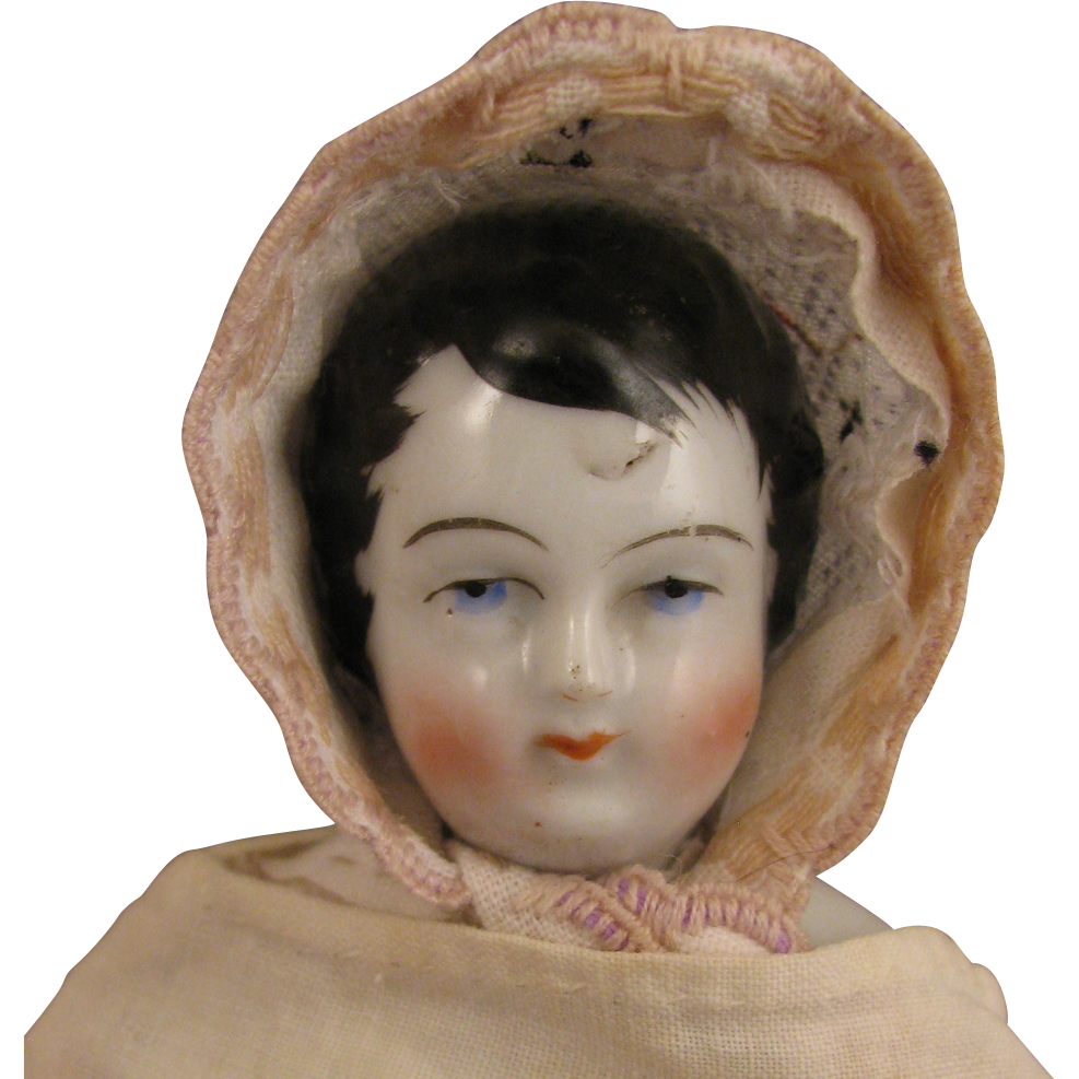 "Antique 9.5"" German Kinderkoph Boy Child China Head Doll"