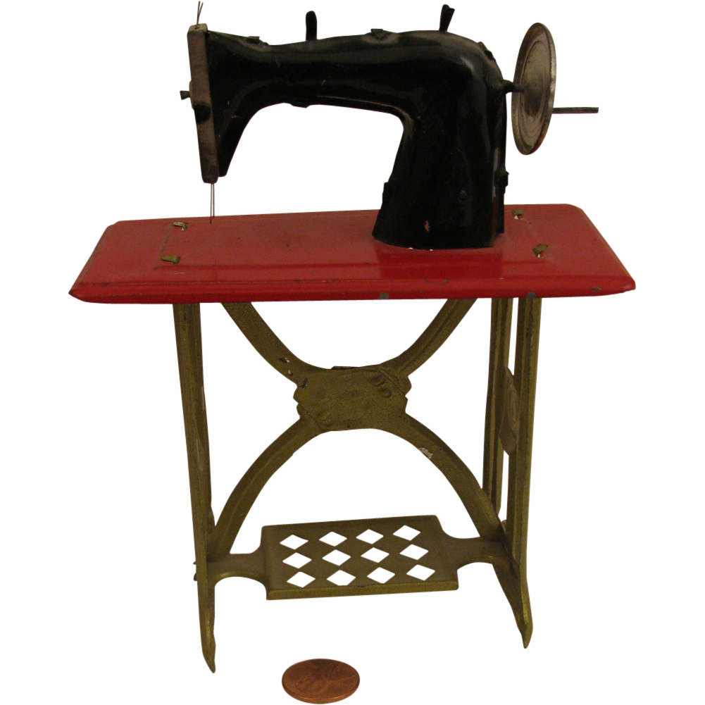 Early 1900s MIniature Doll Size Tin Toy Treadle Sewing Machine
