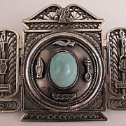 1940s Vintage 900 Silver Egyptian Hieroglyphic Pendant Brooch