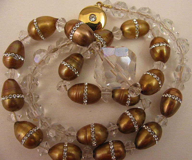 "18"" Necklace of Gold Cultured Pearls Ringed w/ Swarovski Crystals"