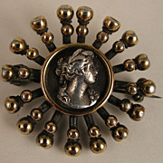 Antique Victorian 800 Silver Cameo Relief Brooch