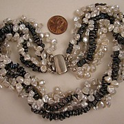 16 inch Fresh Water White & Peacock Cultured Pearl 5 Strand Torsade Necklace