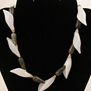 16 inch Labradorite & White Quartz Calla Lily Sterling Silver Necklace