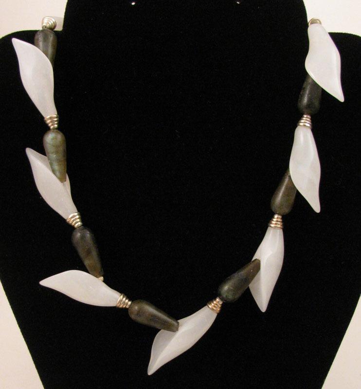 16 inch Labradorite & White Quartz Calla Lily Sterling Silver Necklace