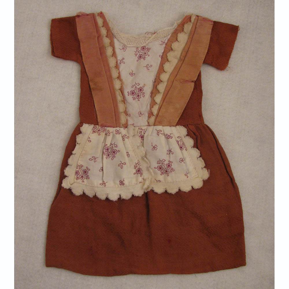 Antique Commercially Made Brick Color Cotton Dress for 16 inch Antique Doll
