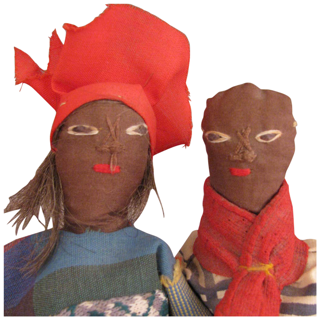 Vintage Pair of Ethnic Black Folk Art Cloth Dolls 8 inch