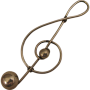 Vintage 1950s Lang Sterling Silver Treble G Clef Brooch