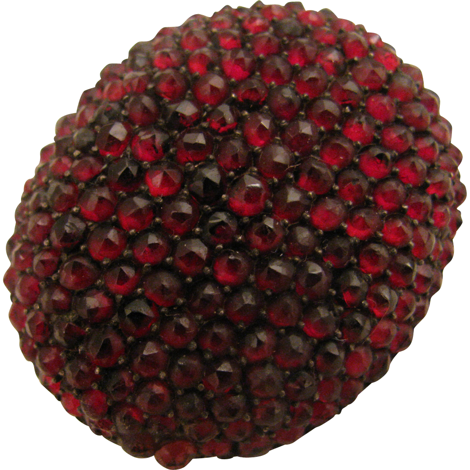 Antique Victorian Rose Cut Garnet Cluster Brooch