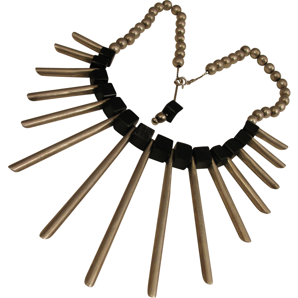 Heavy Mod 1970s Sterling Silver Egyptian Revival Fan Necklace