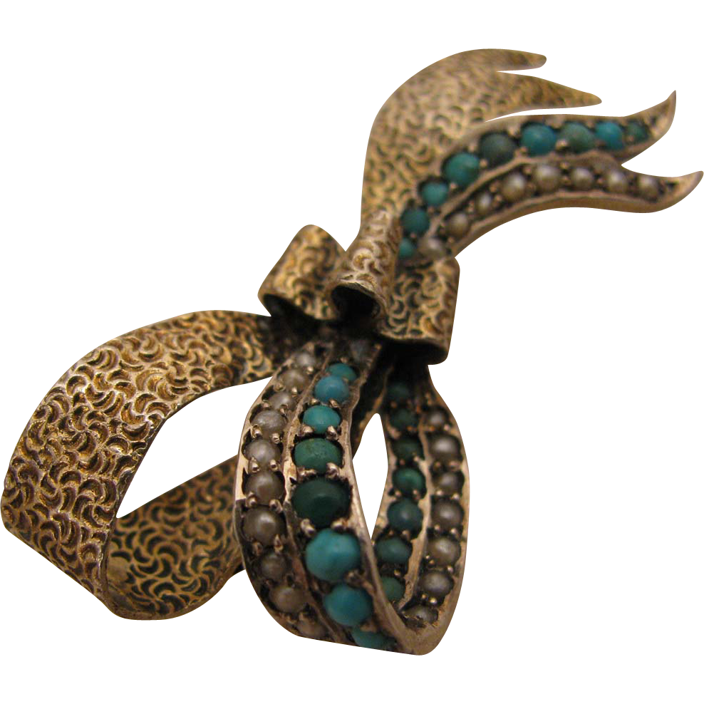 Antique Austro Hungarian 800 Silver Vermeil Bow Brooch w/ Turquoise & Pearls