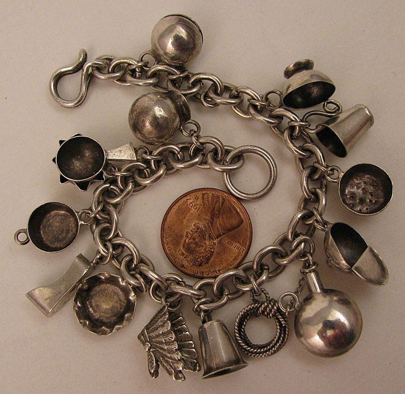 c.1940s Mexican Sterling Silver 15 pc. Charm Bracelet