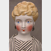 19 inch German Parian Shoulder Head Doll with Pierced Ears and Earrings