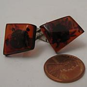 Mid Century Modern Mans Natural Amber Cufflinks