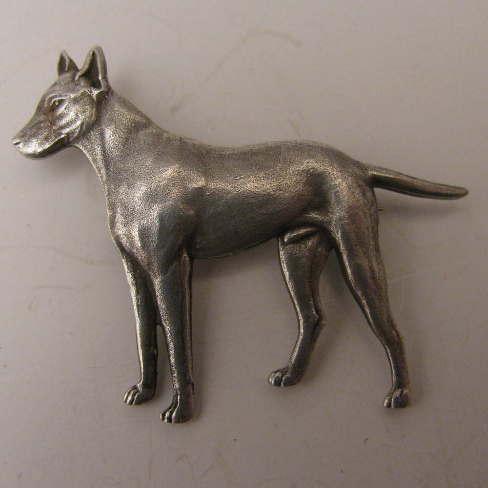 Antique Silver Plated Bull Terrier Dog Brooch