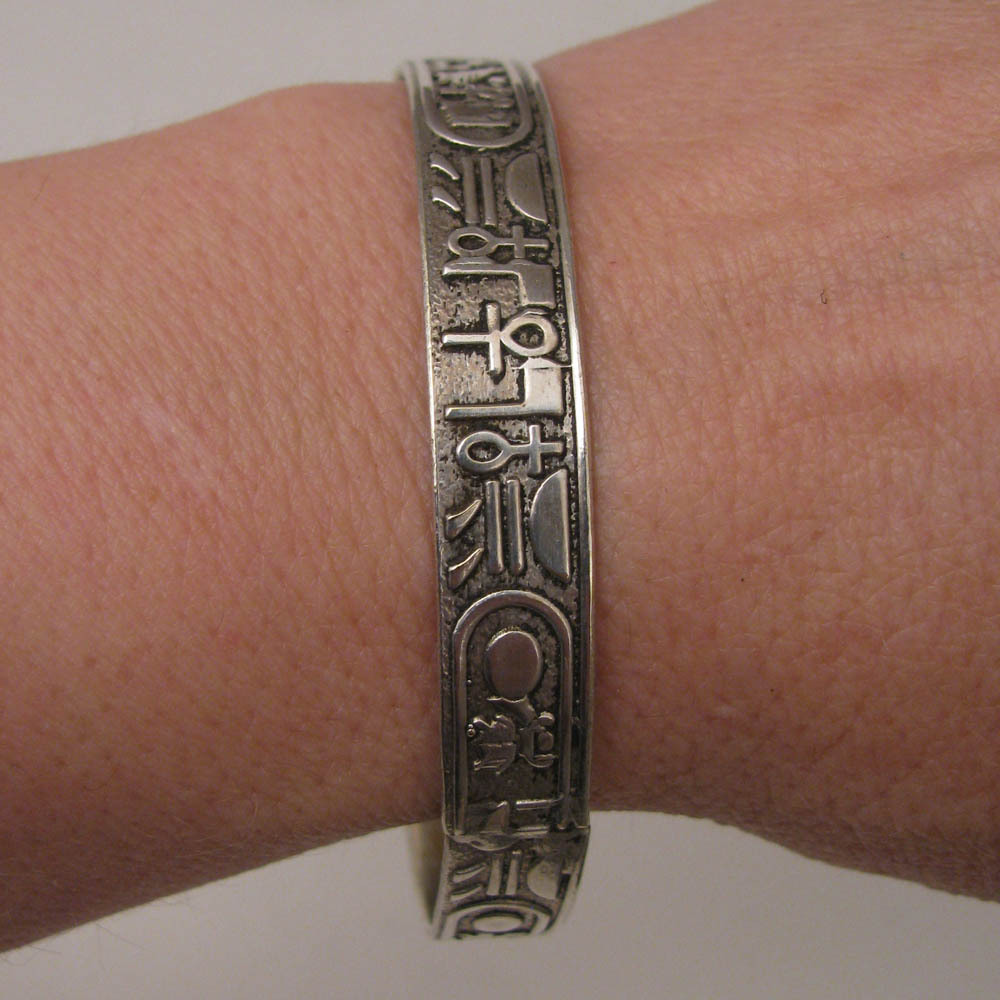 Vintage Egyptian Revival Hieroglyphics Bangle Bracelet