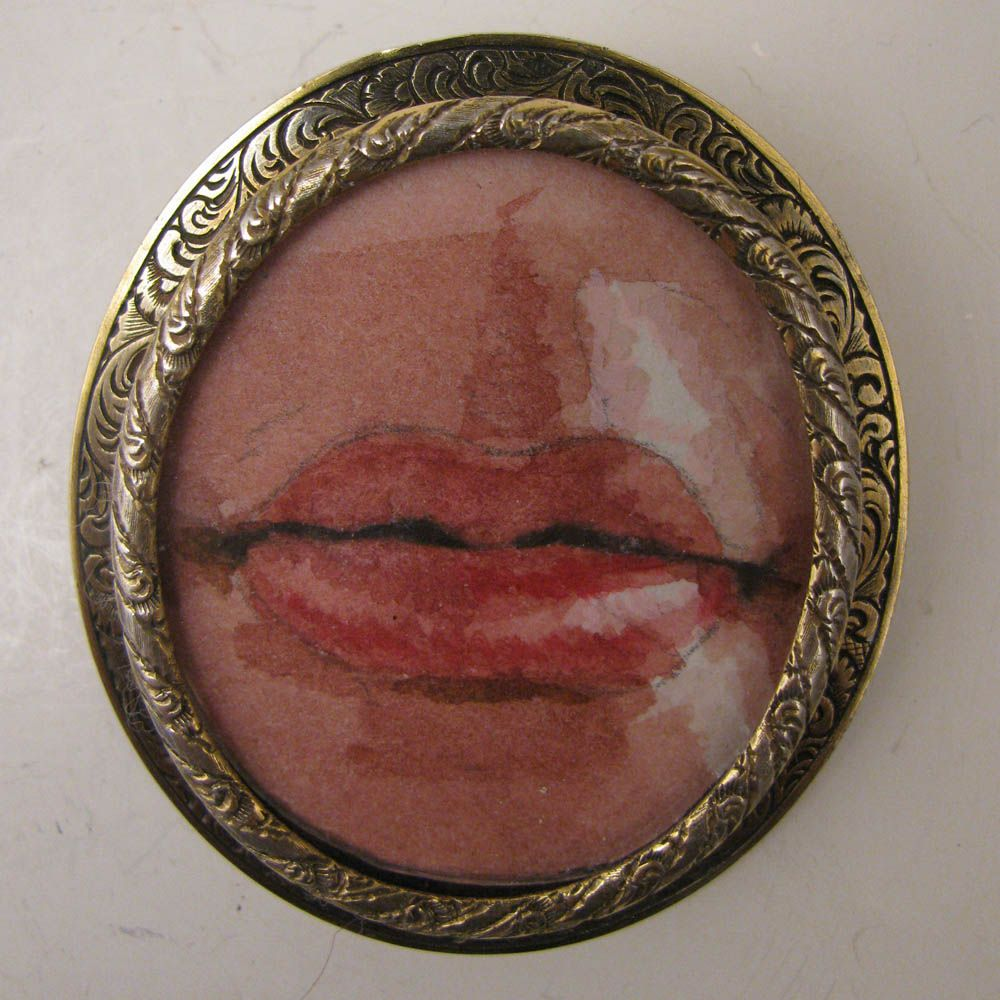 Hand Painted Miniature Lover's Lips in Antique Sterling Brooch