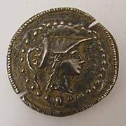 Early 1900s 800 Silver Roman Coin Style Brooch