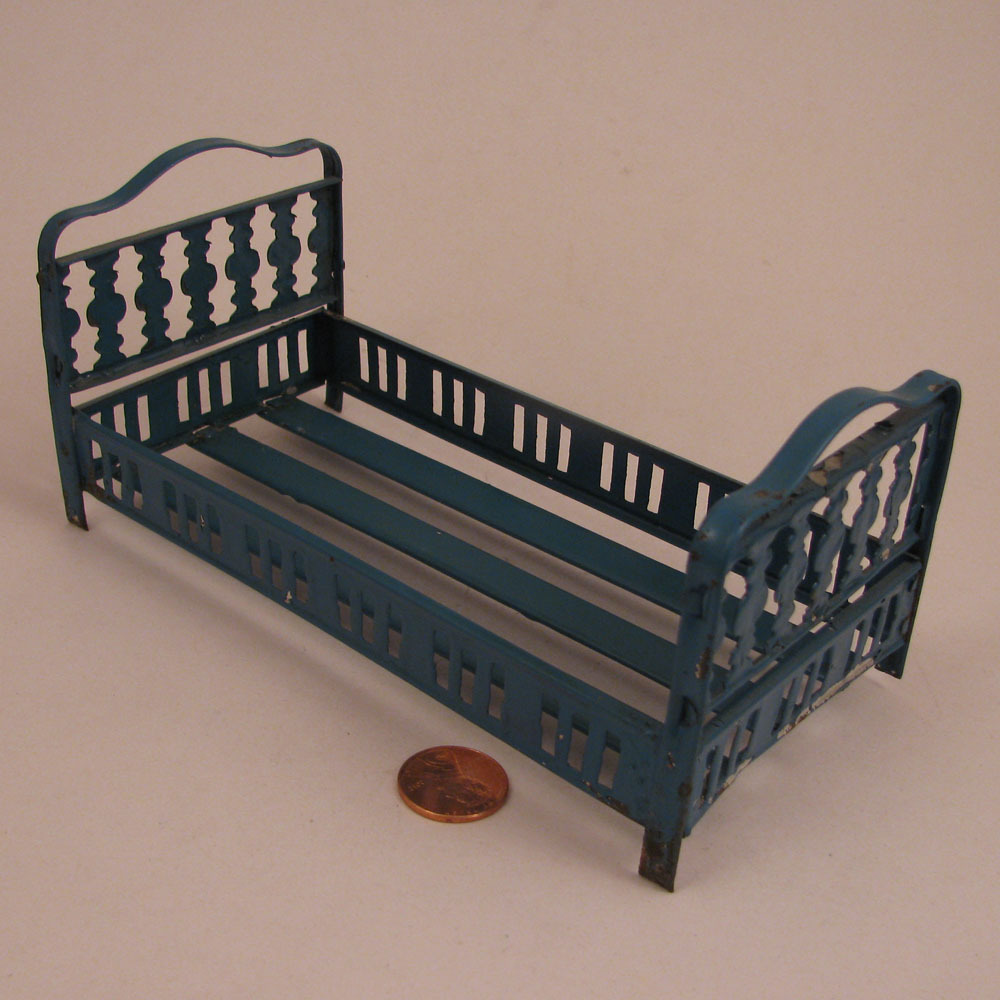 "Antique French Blue Painted Tin 6.25"" Doll Bed"